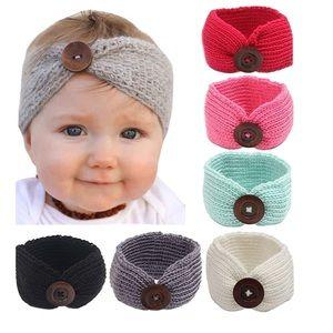 6-Pack Button Headbands Knit Head Wrap
